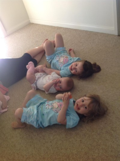 "The girls having ""floor time"" with my niece"