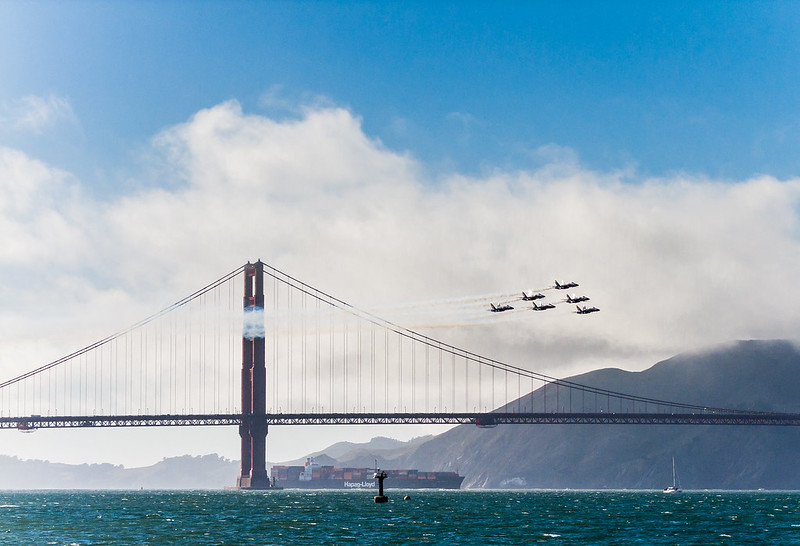 Blue Angels flying in Delta formation over the Golden Gate Bridge