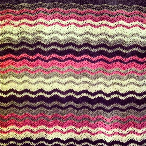 The #blanket for my daughter is growing #crochet #pink #gray #brown #white