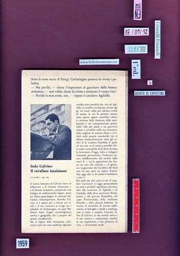 Italo Calvino, Il cavaliere inesistente. Einaudi 1959. i coralli 108. Quarta di copertina