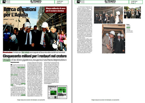 TERREMOTO SISMA L'AQUILA: Barca di milioni per L' Aquila - Cinquecento milioni per i restauri nel cratere. IL TEMPO ABRUZZO & MOLISE (22/09/2012), P. 23. by Martin G. Conde