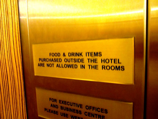 Sign in hotel lift