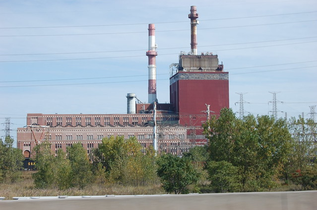large red industrial building on the southern most port in Lake Michigan