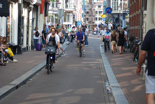 Dutch cycling only street in Amsterdam