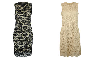 S-L Lace Dress Black Beige 1795