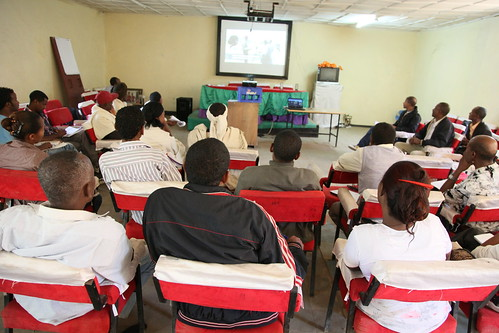 Members of the Fogera NBDC Innovation Platform watch a participatory video made by community members