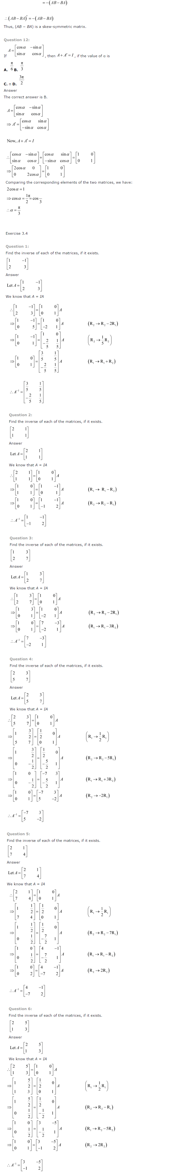 NCERT Solutions for Class 12 Maths Chapter 3 Matrices ex 3.9