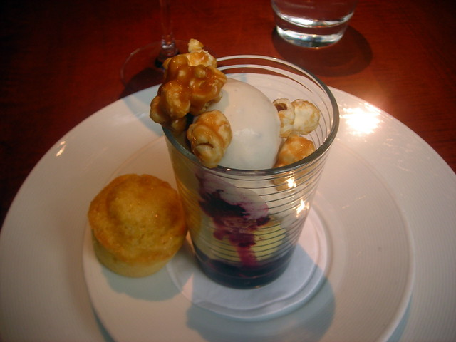 Blueberry corn ice cream sundae, toffee popcorn, sweet corn muffin