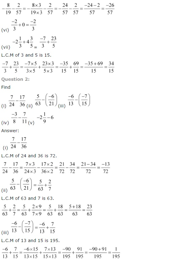NCERT Solutions for Class 7th Chapter 9 Rational Numbers Exercise 9.2