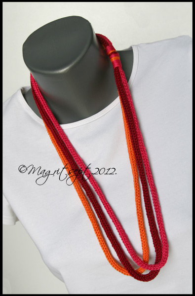 orange and magenta necklase