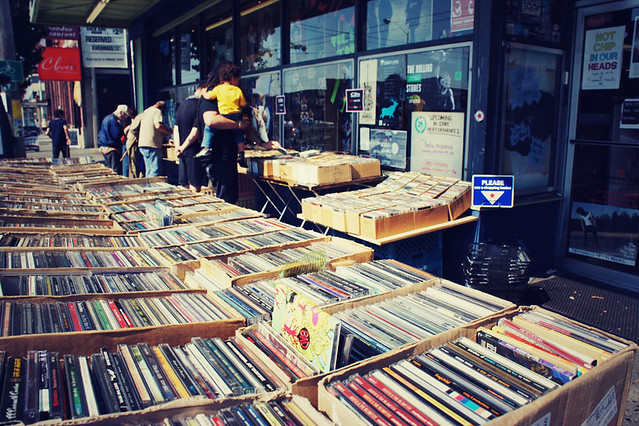 Browsing music at Easy Street Records