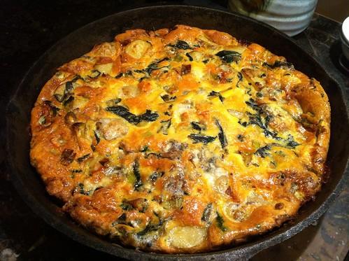 Leek, spinach and blue cheese fritatta