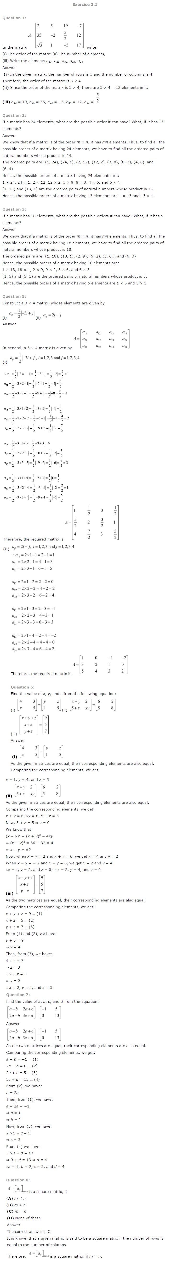 NCERT Solutions for Class 12th Maths