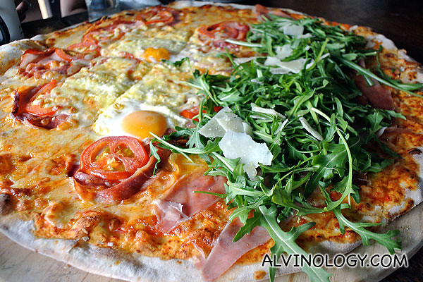 Close-up of the pizza