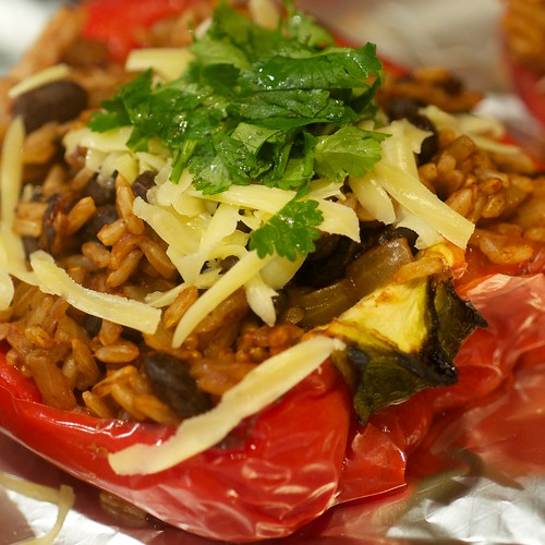 Stuffed capsicum with brown rice and black beans
