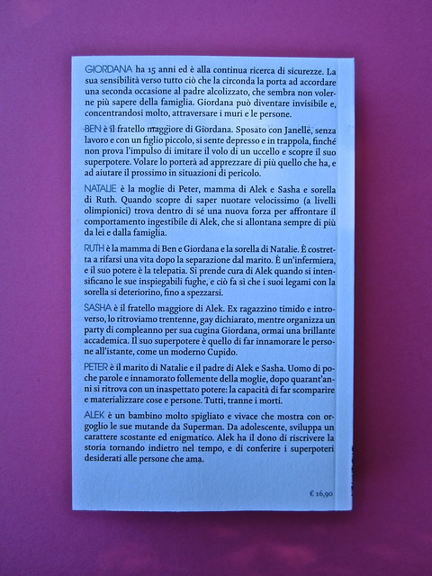 Steven Amsterdam, Ritratto di famiglia con superpoteri, ISBN 2012. Grafica: Alice Beniero. Quarta di copertina (part.), 1