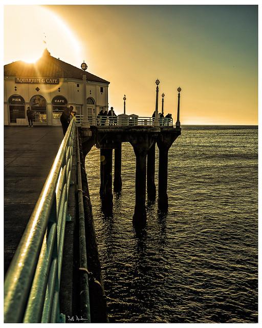 Manhattan Beach Pier Falls Into The Sun