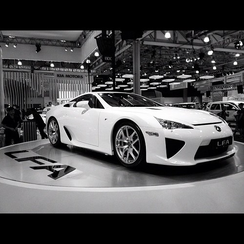 Lexus LFA. Taken at the Manila Int'l Autoshow. #iphone4s #lexus #LFA #cars #supercars #awesomeshots #blackandwhite #monochrome #photooftheday #igersasia #igersjapan #igersmanila #philippines #webstagram #instago #instagood