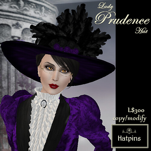 Hatpins - Lady Prudence Hat - Purple