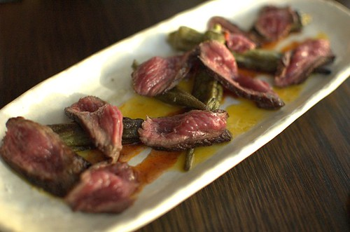 Seared wagyu rump, roasted okra & anticucho sauce