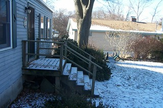 Front steps on a February winter day