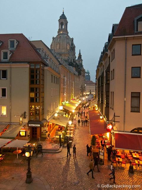 A restaurant-filled street
