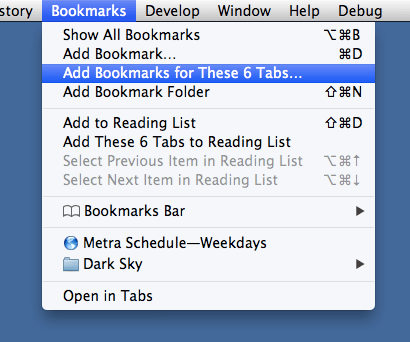 Save tabs as bookmarks in Safari