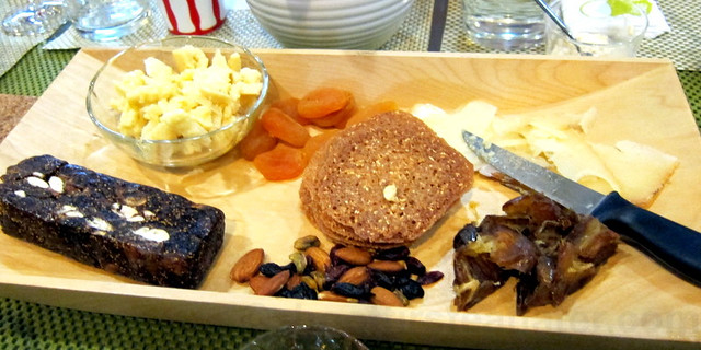 cheese, nuts, fig bar, apricots, dates, cassava lace cookies