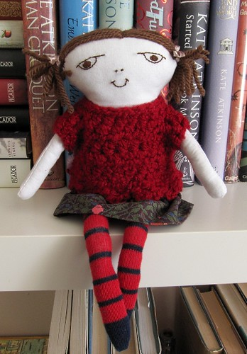 Handsewn doll with crochet sweater and Liberty skirt