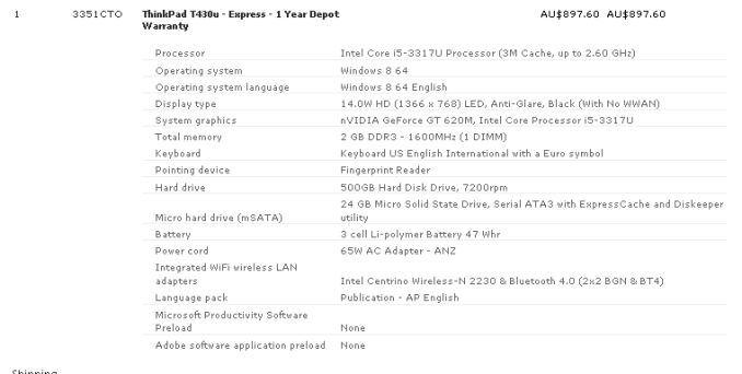 T430u specification
