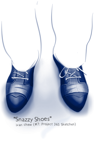 """Snazzy Shoes"" (#7: Project 365 Sketches)"