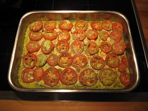 Lachs-Tomaten-Pesto-Auflauf