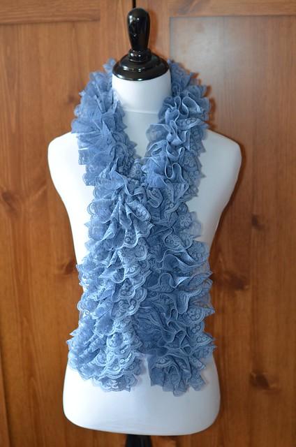 Blue Lace Ruffle Scarf