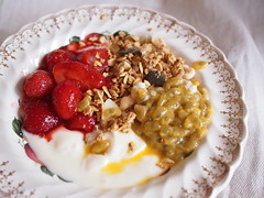 Breakfasts of Stewed Fruit, Granola, Chia Seeds, and Yoghurt