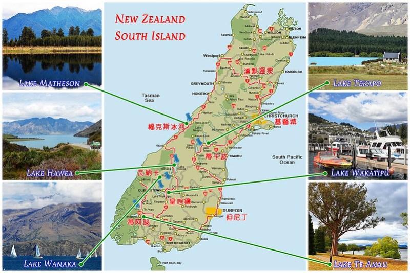 New Zealand South Island Lake map