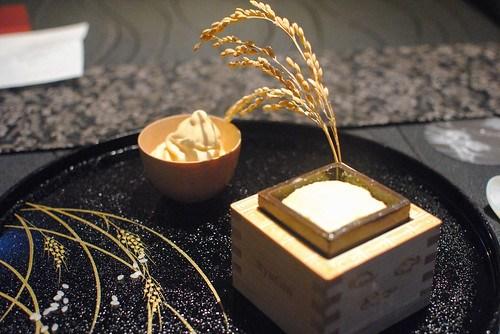 Grilled Ginjou Sake Oyaki Souffle with Egg Soft Cream