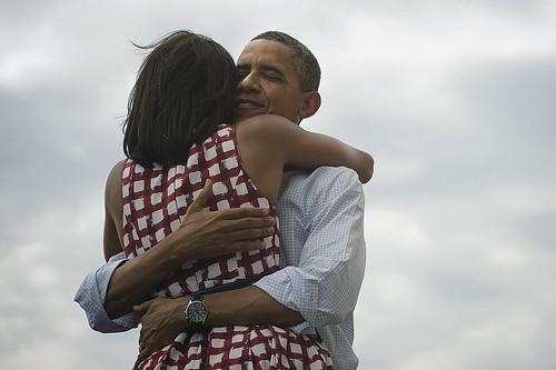 Barack Obama hugging Michelle