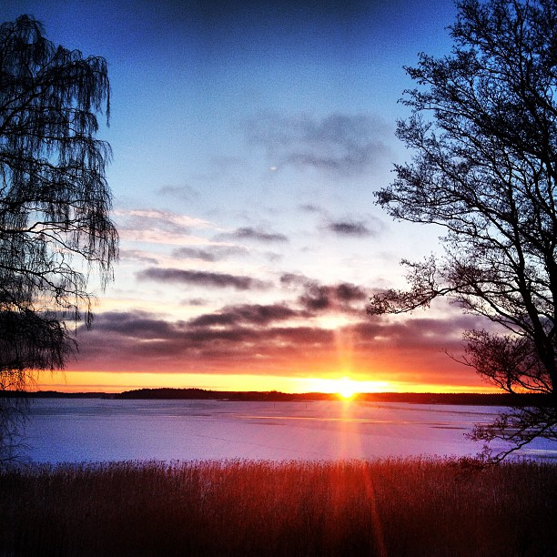 #winter #sunset over #ekenäs #finland #beautiful #cold #colorful #afternoon #sea #nature #landscape #scenery #instadaily #instagood