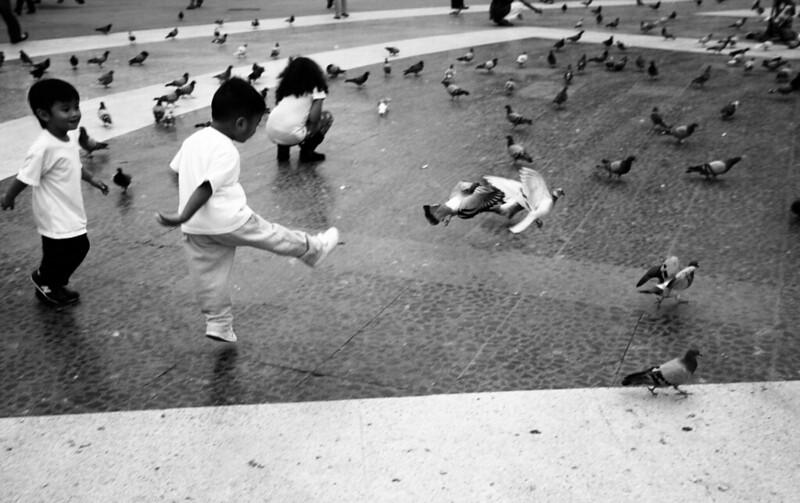 Niños jugando en Plaza Cataluña.