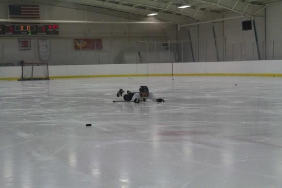 Elliott Falls on the Ice