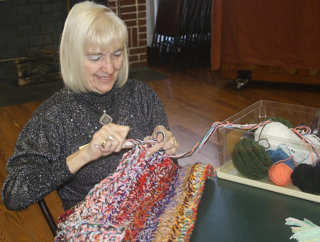 Mary Reach crochets a carpet for Lemon Bay Woman's Club
