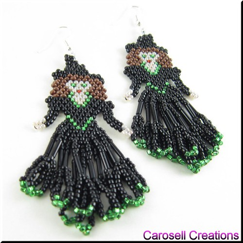 Halloween Witch Seed Bead Holiday Earrings - Green