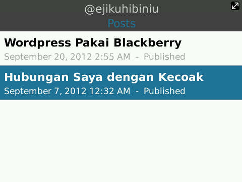 wordpress for blackberry posts