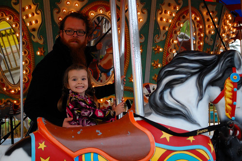 Riding the carousel.