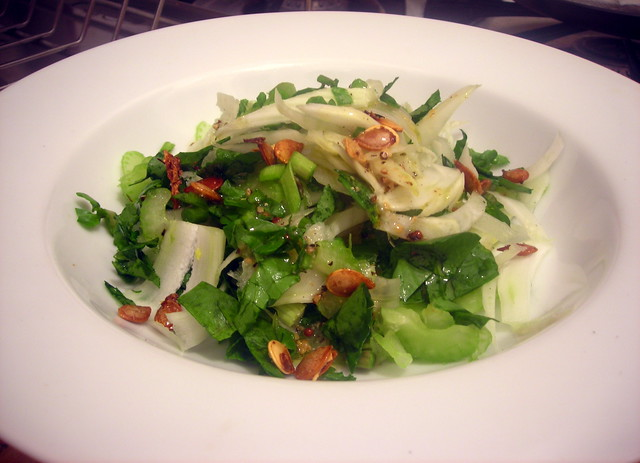 "Shaved fennel and celery salad, with ""popped"" pumpkin seeds and miso-mustard vinaigrette"