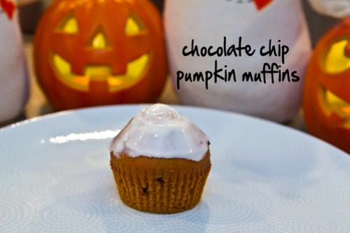 chocolate chip pumpkin muffins - now with frosting!