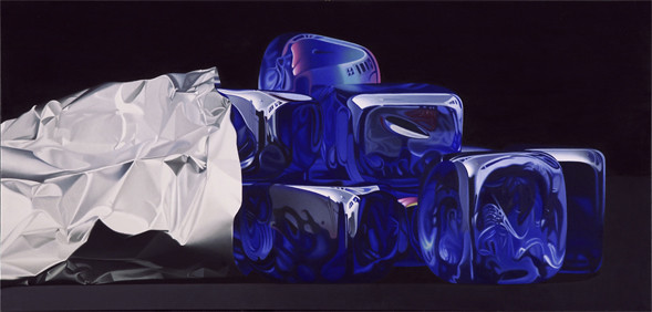 Dei cubi di vetro blu