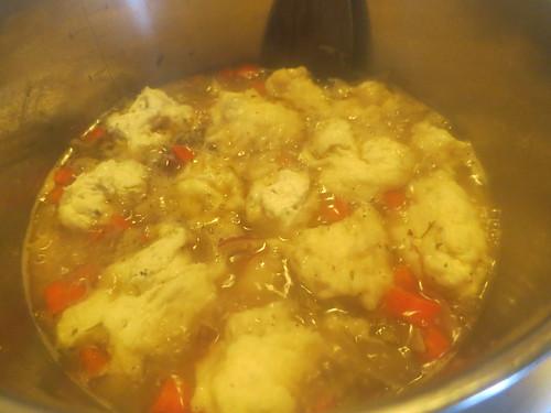 Veggie and dumpling soup