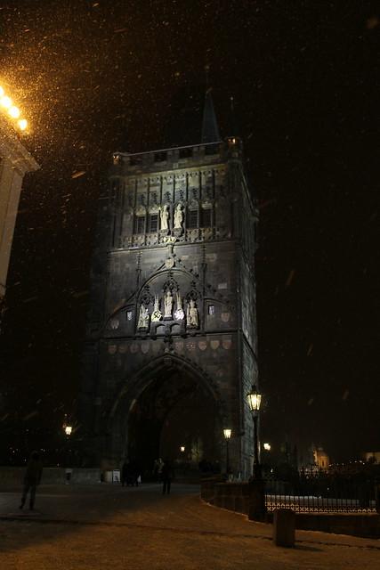 Staroměstská mostecká věž under the snow, Prague