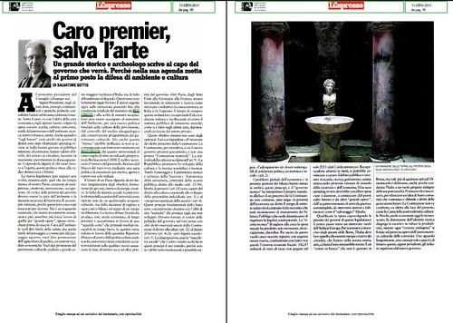 """ITALIA BENI CULTURALI: Prof. Salvatore Settis, """"Caro premier, salva l'arte Un grande storico e arcl scrive al capo del governo che verrà."""" l'Espresso (31/01/2013), p. 50 [PDF, pp. 1-2]. by Martin G. Conde"""